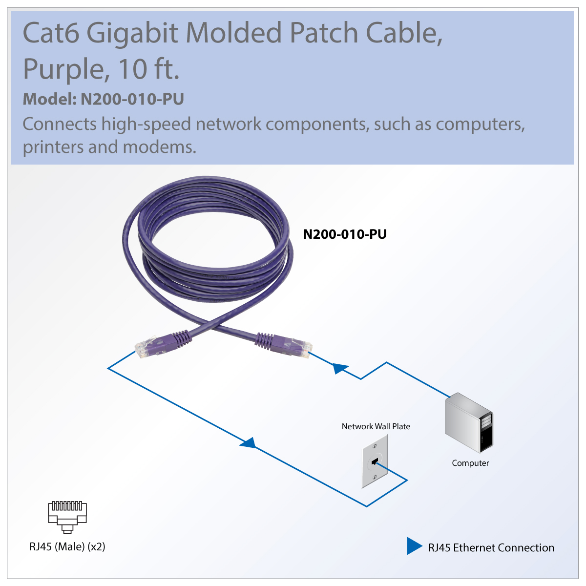 Provantage Tripp Lite N200 010 Pu Cat6 Cat5e Gigabit Rj45 To Cable 550mhz Standards For Switch Router Modem Patch Great Connecting Components In Bandwidth Heavy Home Office Networks