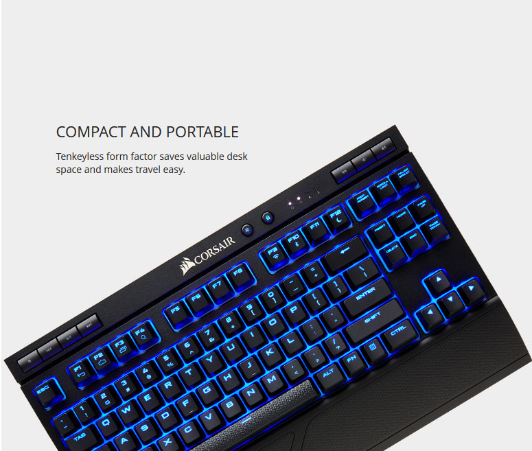 9519ceb01d9 CORSAIR K63 Wireless Mechanical Gaming Keyboard, Backlit Blue LED ...