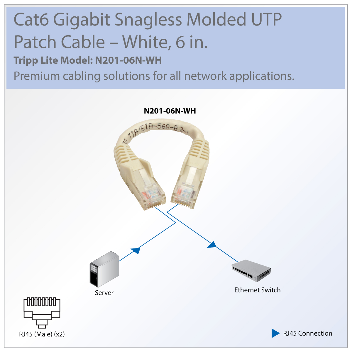 Tripp Lite Cat6 Gbe Snagless Molded Patch Cable Utp White Rj45 M Wiring Diagram How To Wire Your House With Cat5e Or Delivers Superior Signal Quality Top Of The Line Construction
