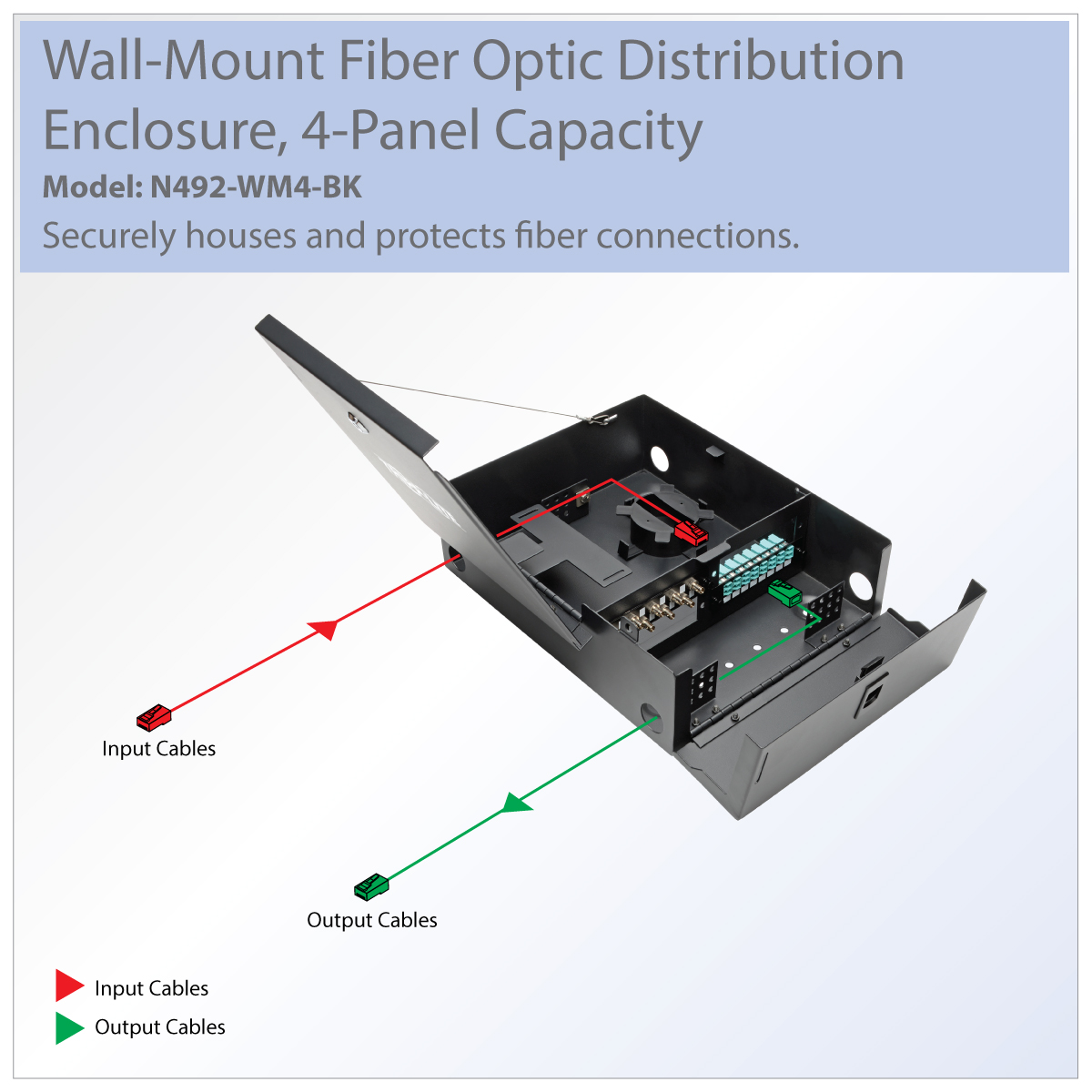 Tripp Lite Wall Mount Fiber Optic Distribution Enclosure 4 N492 Ethernet Jack Wiring Diagram Also Neat Patch Cable Stores And Protects Optical Terminations