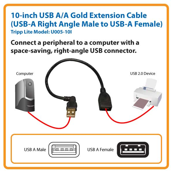 USB Right Angle Extension Cable 10in U005-10I