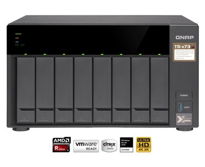 Affordable high-end AMD RX-421ND quad-core NAS with PCIe slots for adding M.2 SSD, 10GbE connectivity, and a graphics card