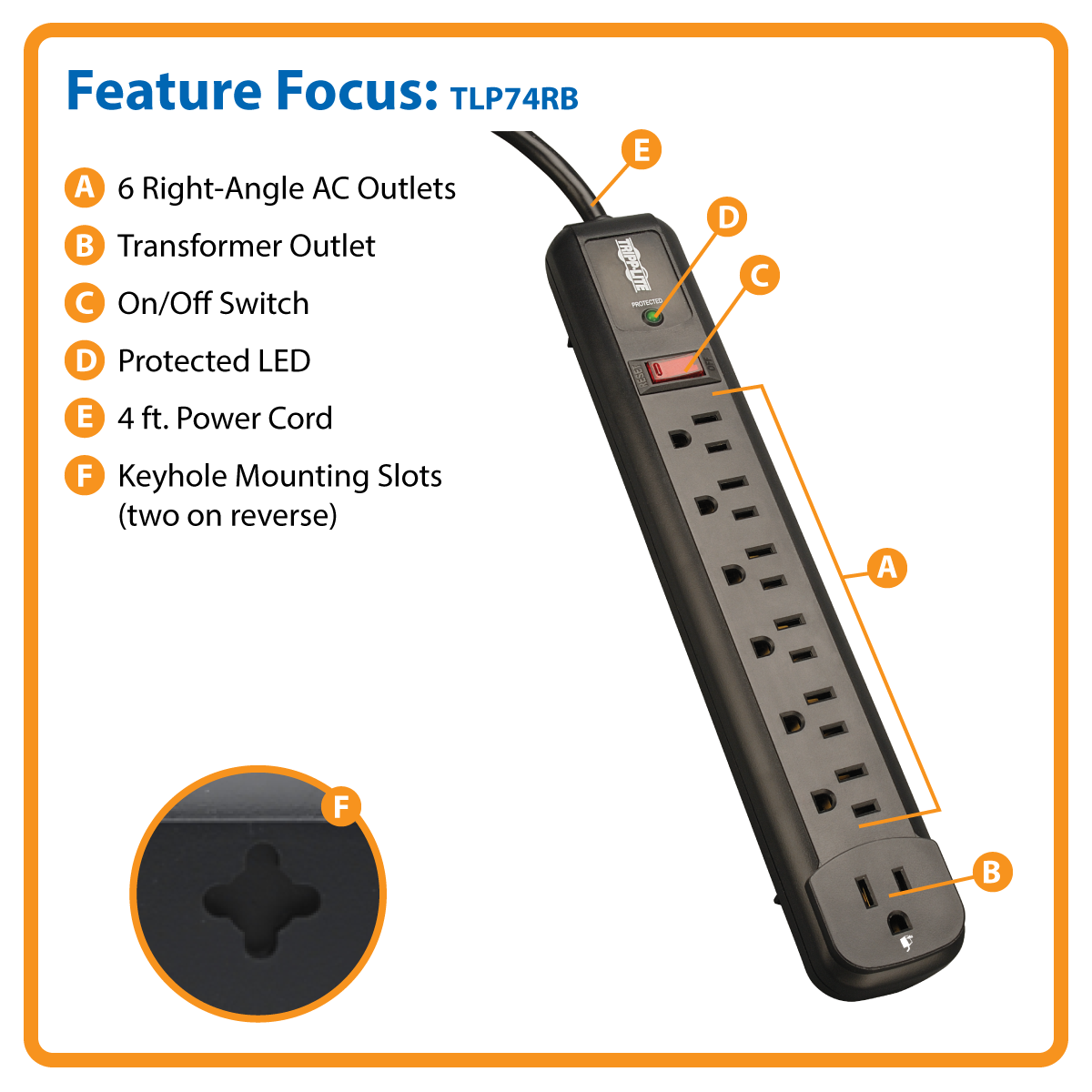 Tripp Lite Surge Protector Power Strip 7 Outlet, 6 Right Angle 4ft Cord