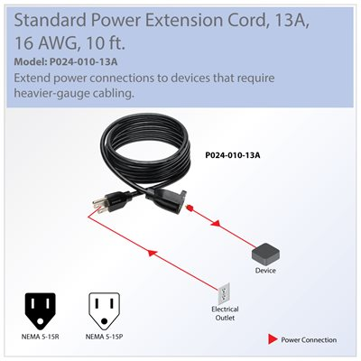 16 AWG, 13A Power Cord Extends Your Existing Power Connection by 10 ft.