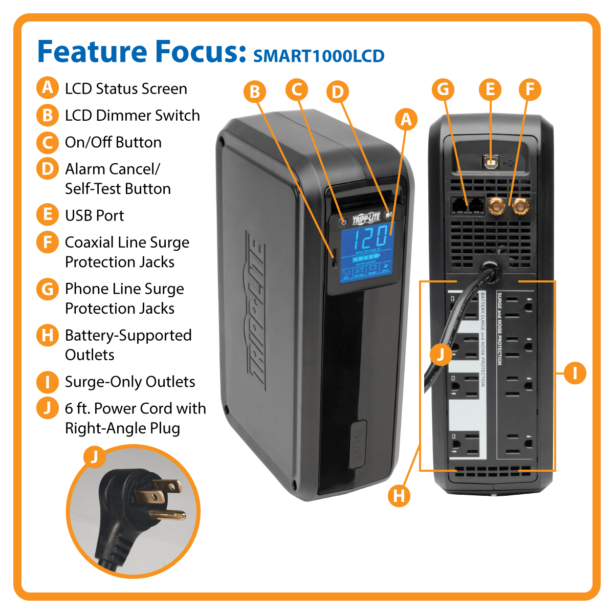 TRIPP LITE OMNI LCD 650VA Tower Line-Interactive 120V UPS with LCD display and USB port