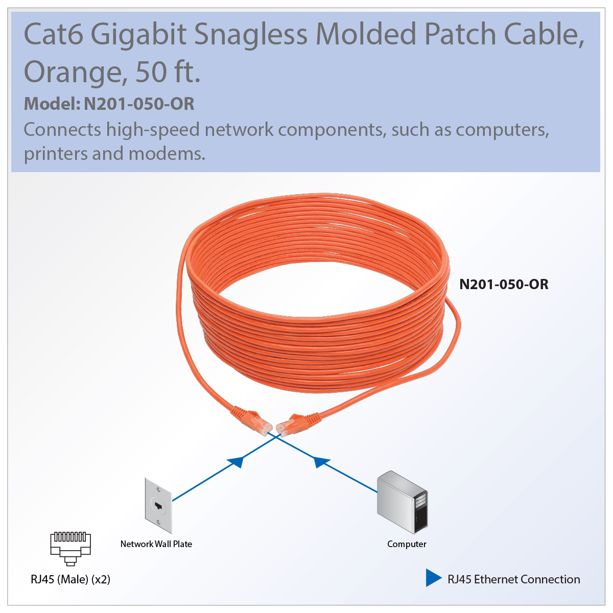 Tripp Lite Cat6 Gbe Snagless Molded Patch Cable Utp Orange Rj45 M 50ft Wiring Diagram How To Wire Your House With Cat5e Or Recommended For Connecting Components In Gigabit Ethernet Network