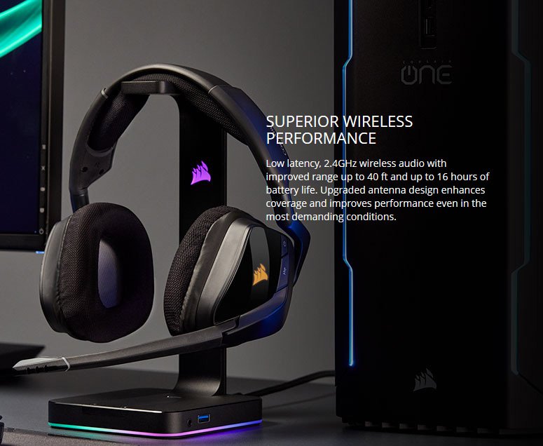 Corsair Gaming VOID PRO RGB Wireless Premium Gaming Headset with Dolby  Headphone 7 1, Carbon - Newegg com