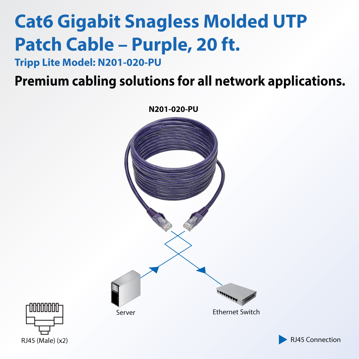 Cat6 Gigabit Snagless Molded Utp Patch Cable Rj45 M Purple 20 Cables Cat5e Green Ethernet Boot 3 Foot Product Image
