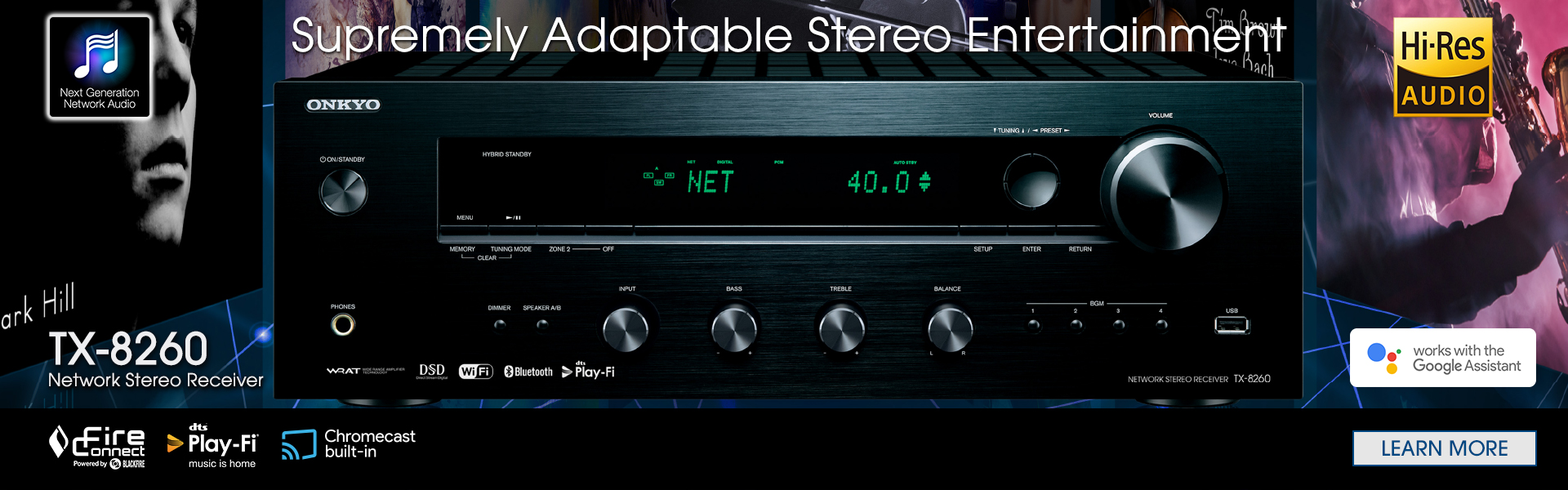 Onkyo TX-8260Network Stereo Receiver with Built-In Wi-Fi & Bluetooth