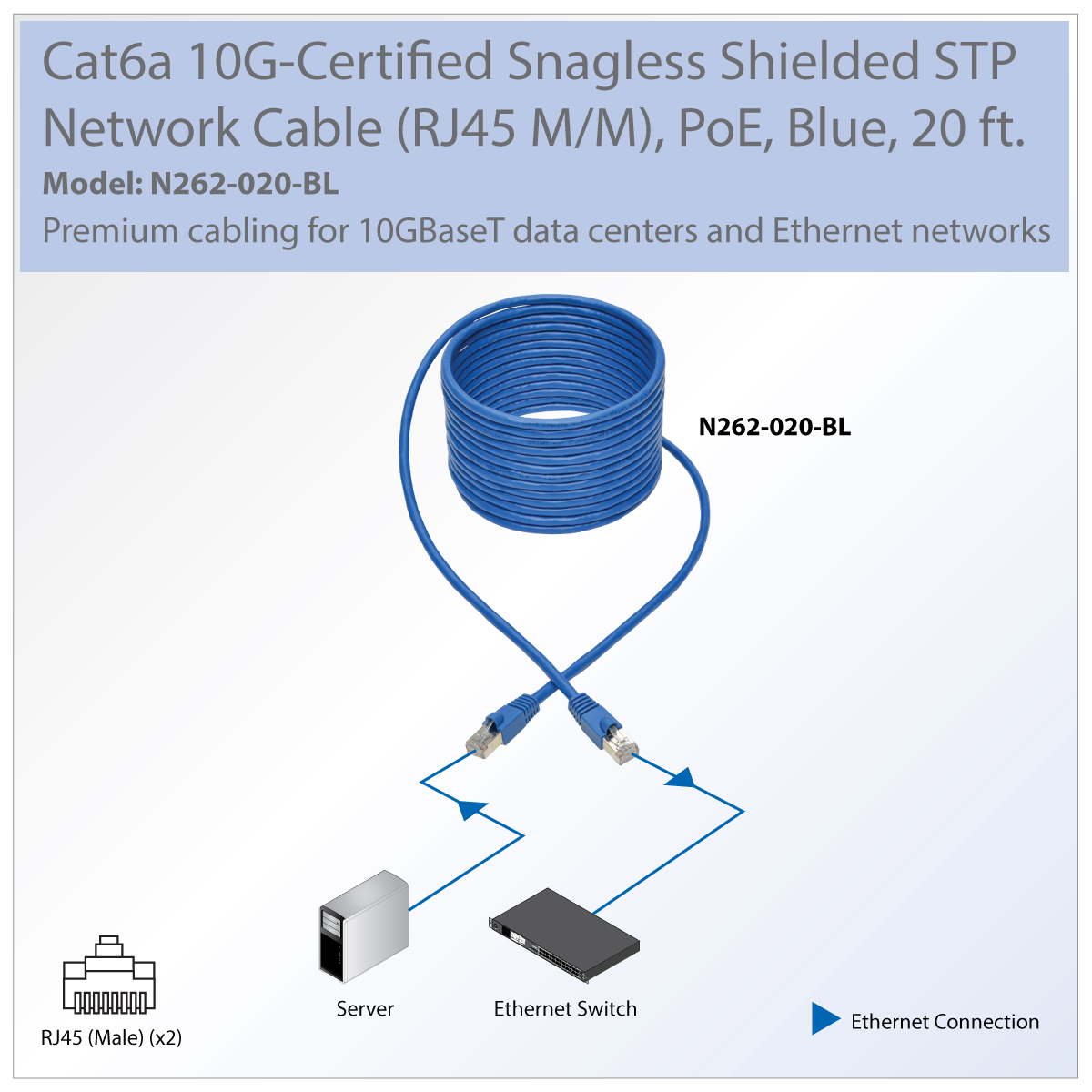Tripp Lite Cat6a Snagless Shielded Stp Patch Cable 10g Poe Blue M Rj45 Wiring Diagram Transmits Data Voice And Video Signals In High Density 10gbaset Networks