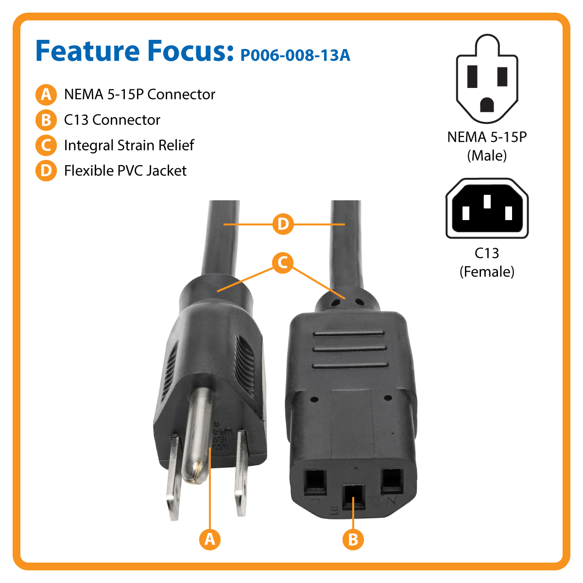 Tripp Lite 8ft Computer Power Cord Cable 5 15p To C13 13a 16awg 8 By Extension Replacement Plug Terminal Replace Your Worn Out Or Missing Cords