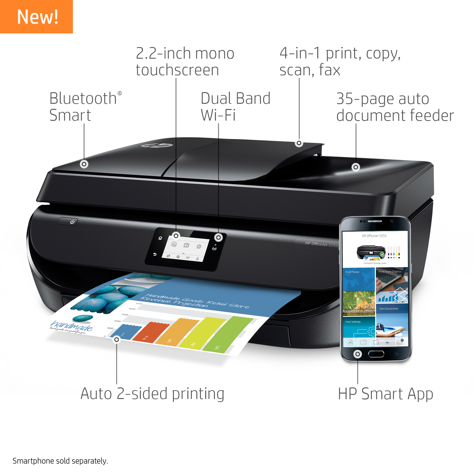 HP Officejet 5255 All-in-One Wireless Color Printer, M2U75A Item # 7600702