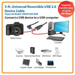 3 ft. Universible Reversible USB 2.0 Device Cable