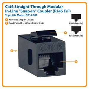 Cat6 Straight Through Modular In-line Snap-in Coupler (RJ45 F/F)