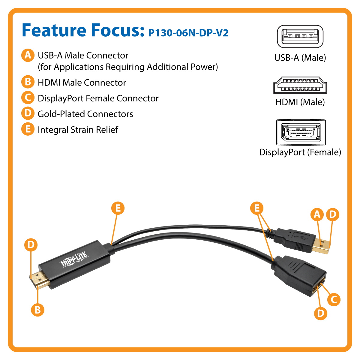 Tripp Lite Hdmi To Displayport Active Converter 4k With Usb Power House Wiring Product Image