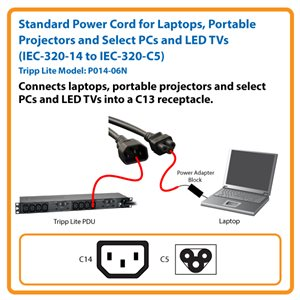 6-in. 18 AWG Standard Power Cord Adapter for Laptops, Portable Projectors and Select PCs and LED TVs (C14 to C5)