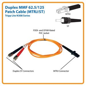 Duplex MMF 62.5/125 3 ft. Patch Cable with MTRJ/ST Connectors