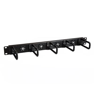 Use this 1U server rack cable-management panel with pass-thru routing holes to organize network server and KVM cabling in your rack