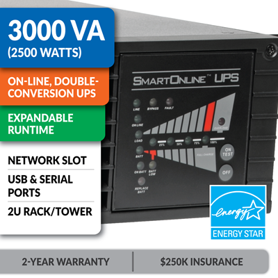 SU3000RTXL2U SmartOnline® Double-Conversion Rack/Tower Sine Wave UPS with Expandable Runtime and Network Slot