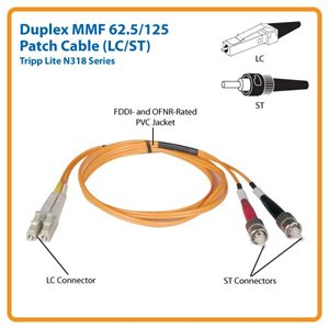 Duplex Multimode Fiber Channel LC/ST Patch Cable- 5 Meters