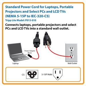 10-ft., 18 AWG Standard Power Cord for Laptops, Portable Projectors and Select PCs and LED TVs (NEMA 5-15P to C5)