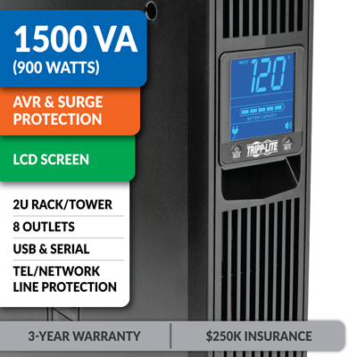 SMART1500LCD Line-Interactive Rack/Tower UPS with LCD