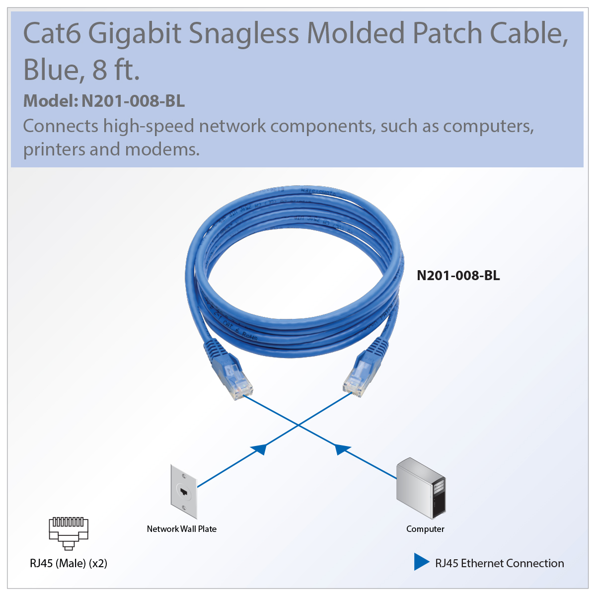Tripp Lite N201 008 Bl Cat6 Utp Patch Network Cable Rj45 Wiring Diagram How To Wire Your House With Cat5e Or Recommended For Connecting Components In Gigabit Ethernet