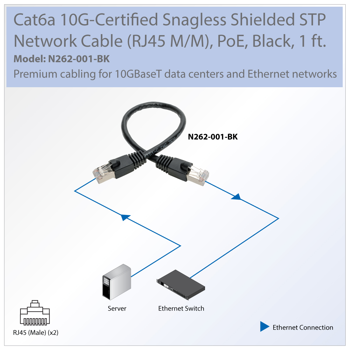 Tripp Lite Cat6a Snagless Shielded Stp Patch Cable 10g Poe Black M Wire Diagram Transmits Data Voice And Video Signals In High Density 10gbaset Networks