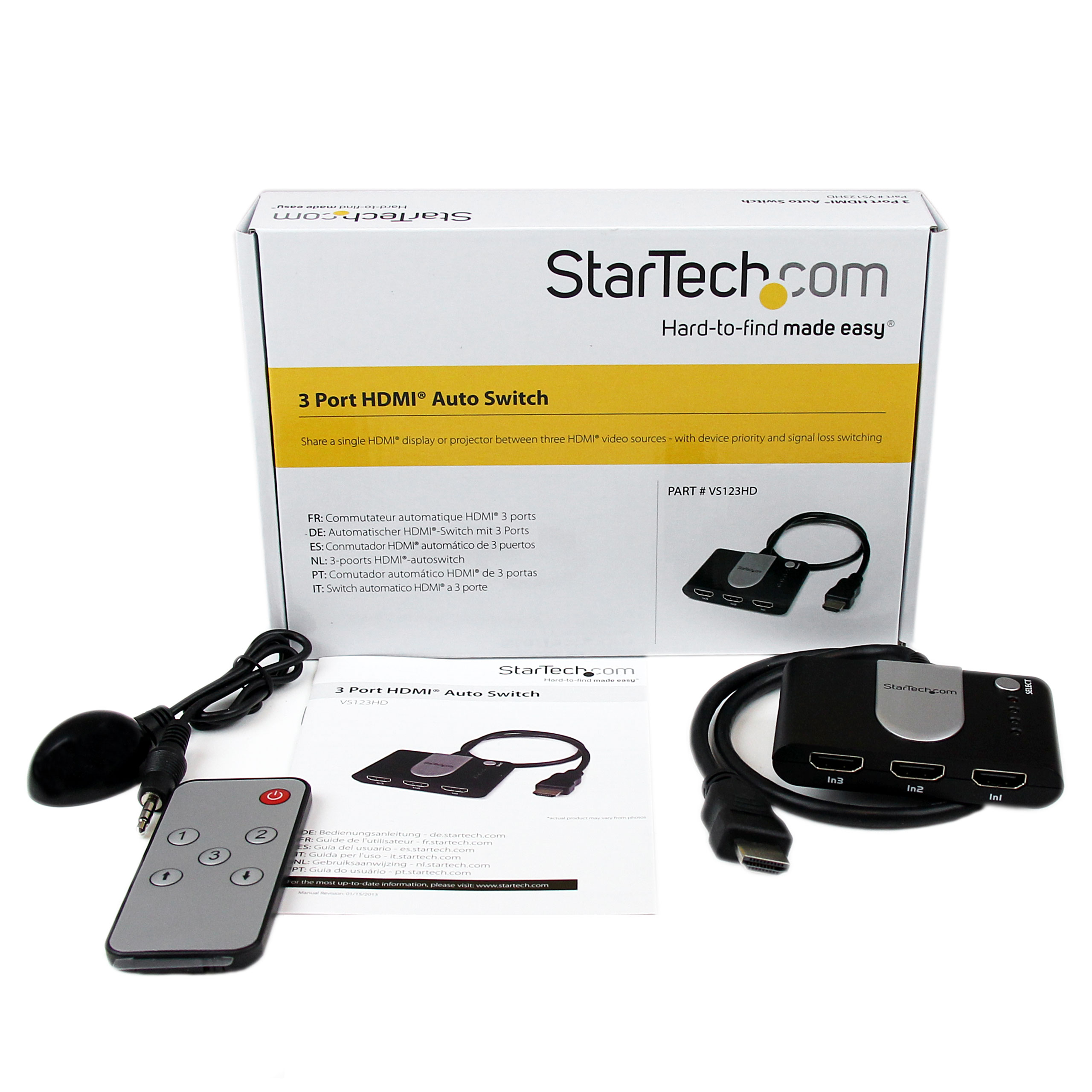 Startechcom 3 Port Hdmi Auto Switch W Ir Remote Control By Office Included
