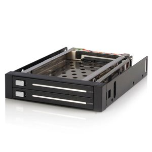 Easy, trayless removal and insertion of dual 2.5in SATA hard drives from single 3.5in bay