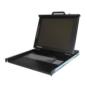 Centralized control of a server or KVM switch with this 1U USB PS/2 rack-mountable LCD console
