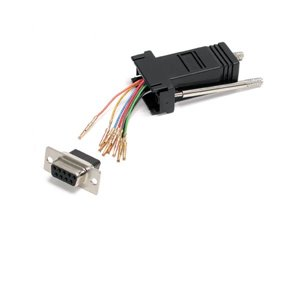 Convert a DB9 male connector into an RJ45 female connector