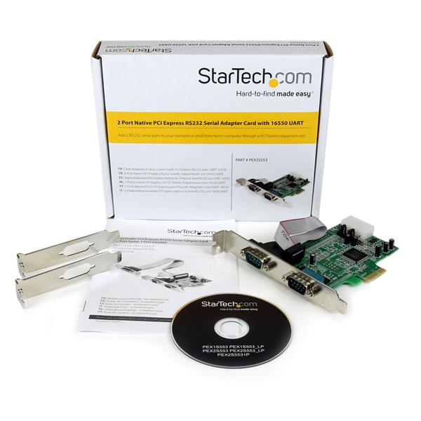 StarTech 2 Port Native PCI Express RS232 Serial Adapter Card With 16550