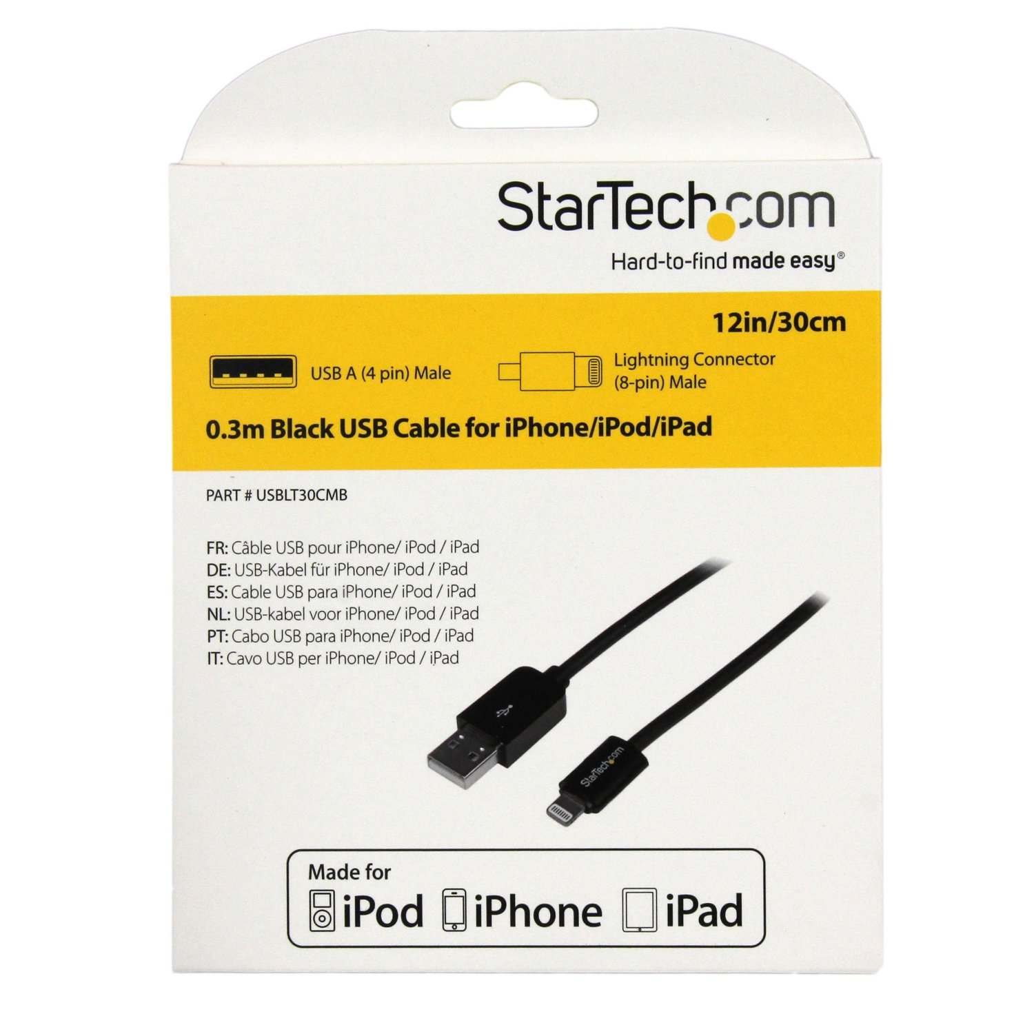 Startechcom 03m 11in Short Black Apple 8 Pin Lightning Connector Kabel Usb Male To 30cm High Quality Cable For Iphone Ipod Ipad By Office Depot Officemax