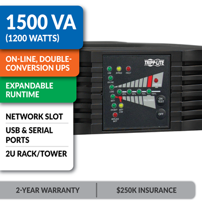 SU1500RTXL2UA SmartOnline® Double-Conversion Rack/Tower Sine Wave UPS with Expandable Runtime and Network Slot