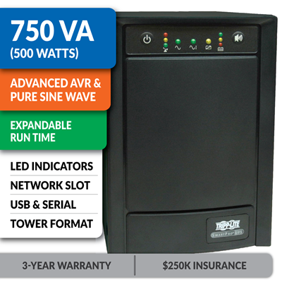 SMART750XLA SmartPro® Line-Interactive Tower Sine Wave UPS with Expandable Runtime and Network Slot
