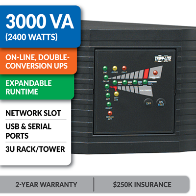 SU3000RTXL3U SmartOnline® Double-Conversion Rack/Tower Sine Wave UPS with Expandable Runtime and Network Slot