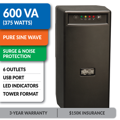 BC600SINE Personal Standby Tower Sine Wave UPS with USB Interface