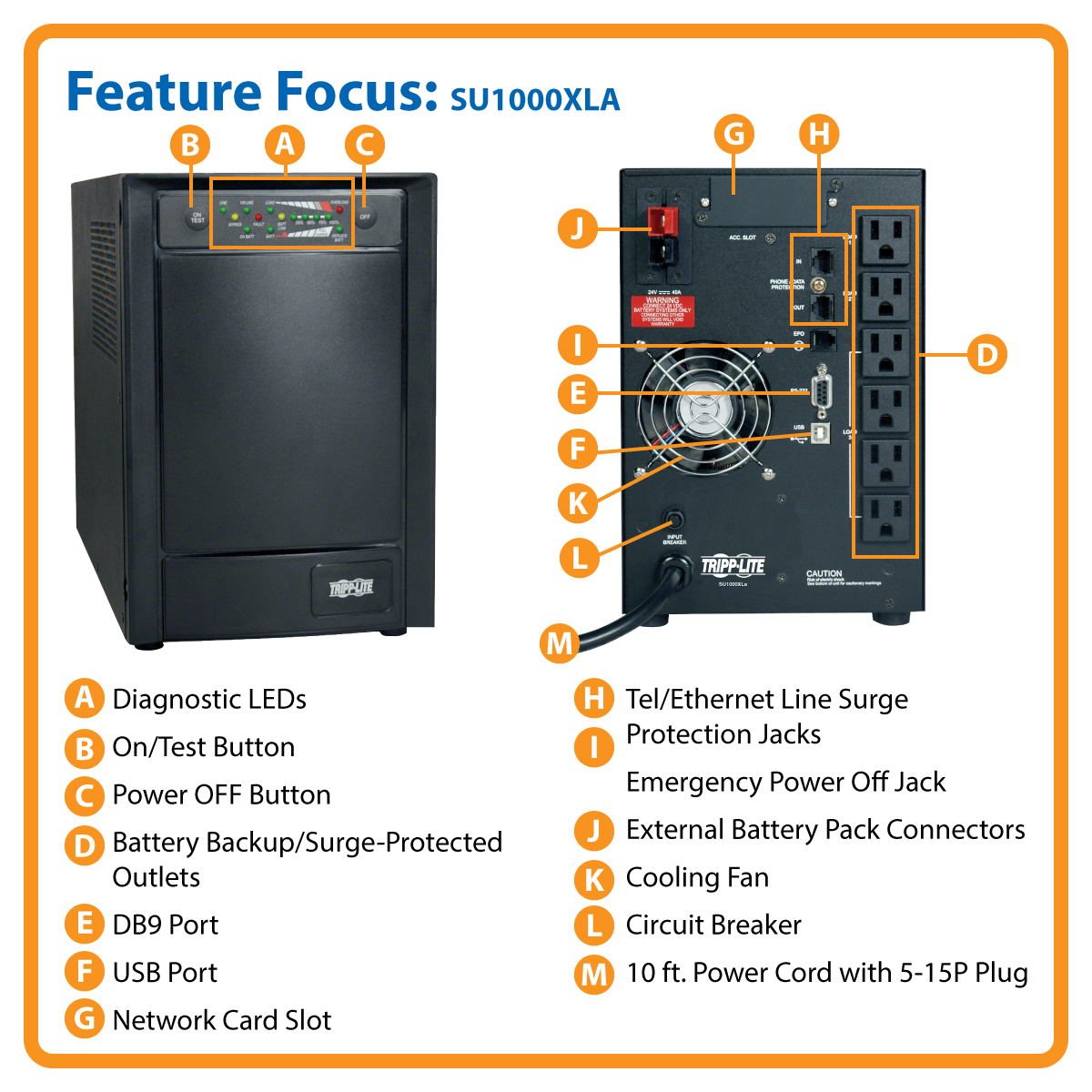 slide 1 of 6,show larger image, su1000xla smartonline® double-conversion sine wave tower ups with expandable runtime and network slot