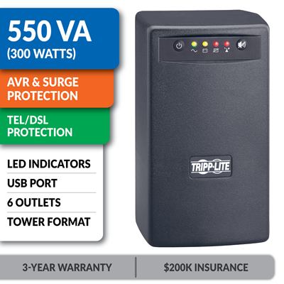 SMART550USB SmartPro® 120V 550VA 300W Line-Interactive UPS, AVR, Tower, USB, Surge-Only Outlets