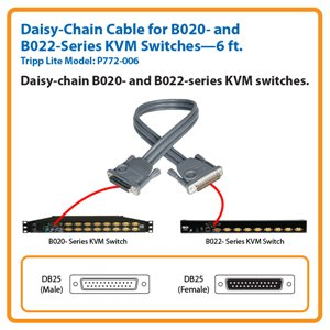 6-ft. Daisy-Chain Cable for Tripp Lite's B020- and B022-Series KVM Switches
