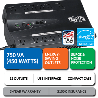 ECO750UPSTAA Ultra-Compact Eco-Friendly Standby UPS with Energy-Saving Outlets, TAA Compliant