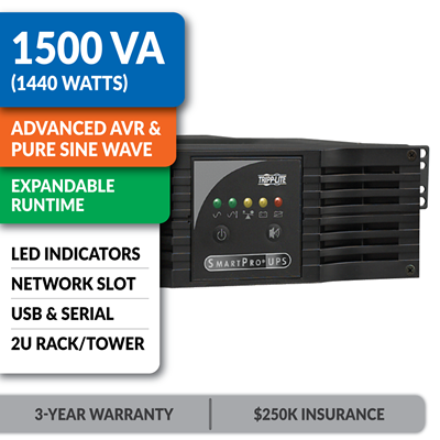 SMART1500CRMXL SmartPro® Line-Interactive Rack/Tower Sine Wave UPS with Expandable Runtime and Network Slot