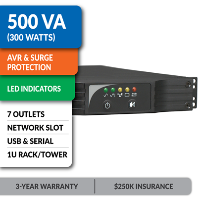 SMART500RT1U SmartPro® Line-Interactive Rack/Tower UPS with Network Slot