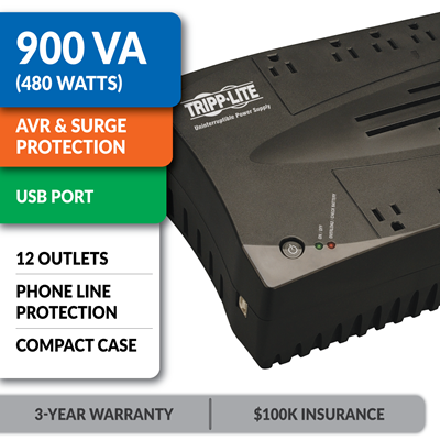 AVR900U Ultra-Compact Line-Interactive UPS with USB Port