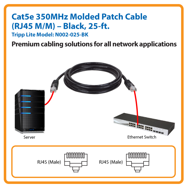 25-ft. Cat5e 350MHz Molded Patch Cable (Black)