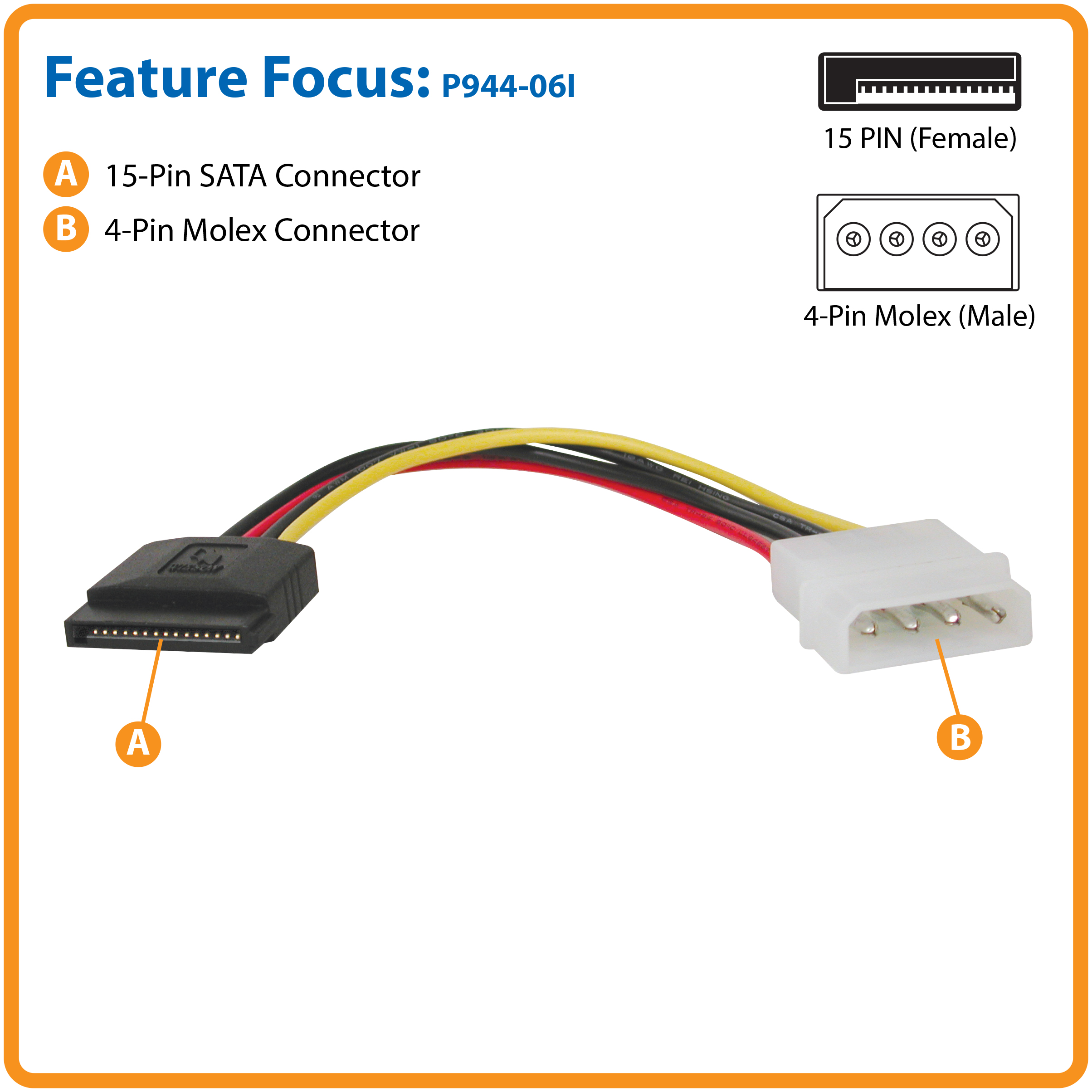 Tripp Lite 6in Serial Ata Sata Power Cable 4pin Molex To 15pin By Hdd Wiring Diagram A Hard Drive From Standard Lp4 Connection