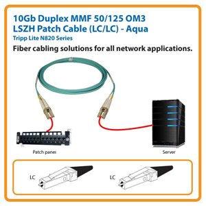 10Gb Duplex MMF 50/125 OM3 LSZH 10 ft. Fiber Patch Cable with LC/LC Connectors