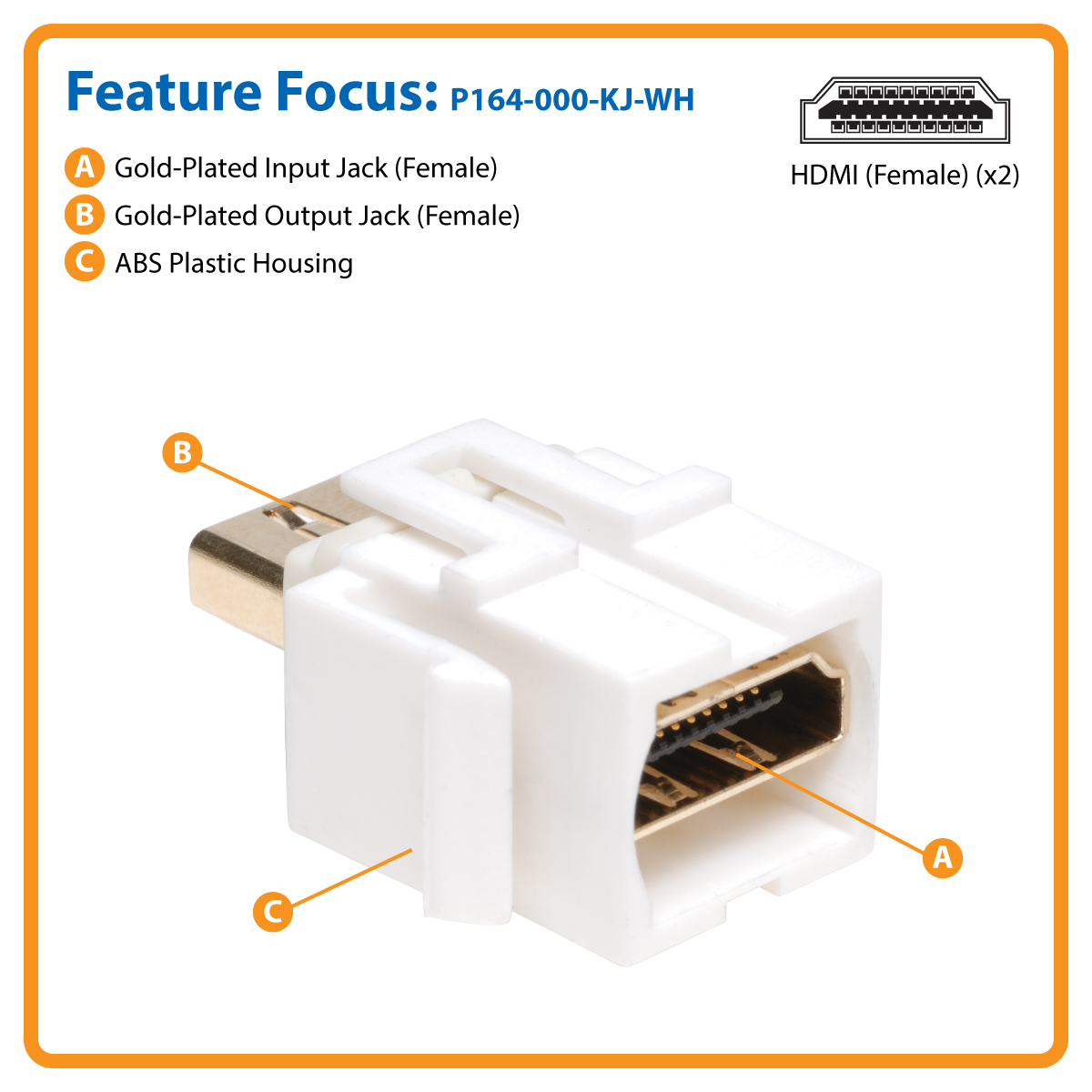 Tripp Lite Hdmi Keystone Jack Snap In Insert Module Coupler Female Wiring Wall Plate Snaps Right To Plates