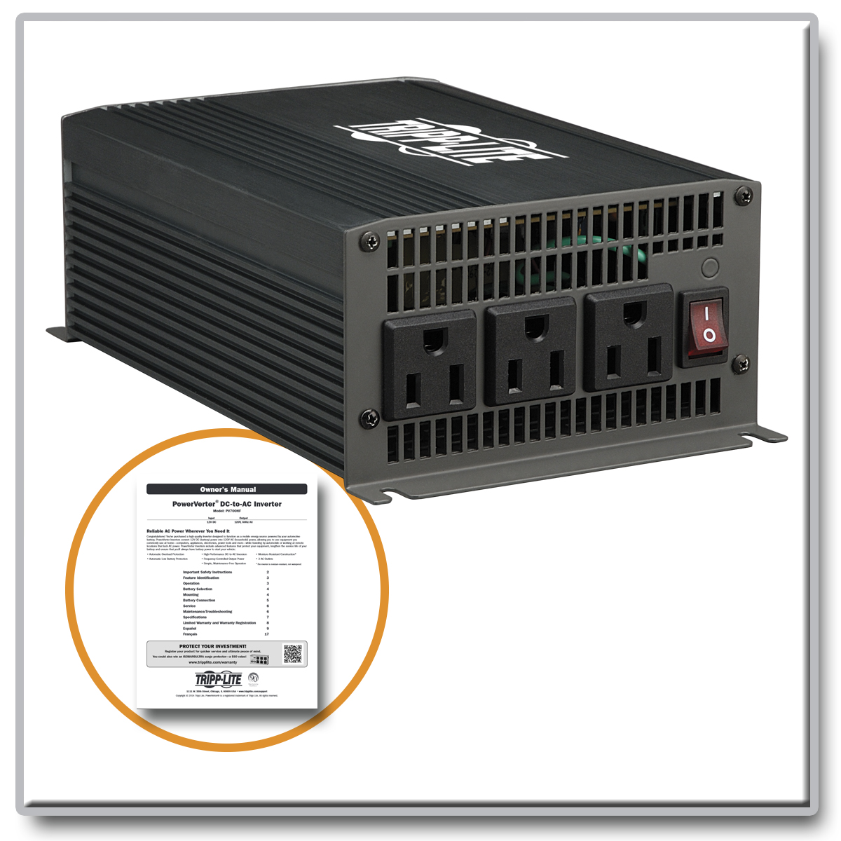 Tripplite Pv700hf Powerverter 700w Ultra Compact Dc To Ac Inverter Srcool12k Portable Unit Wiring Diagram Provide Reliable Power From A Car Battery Devices